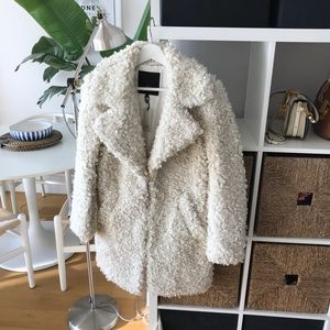 River Island white shearling style fluffy coat NEW